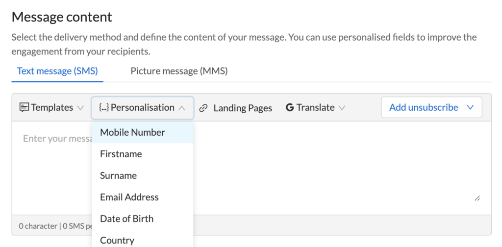 Image of writing your message function in MessageMedia SMS web portal