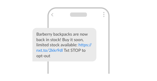 An example of a -back-in-stock SMS