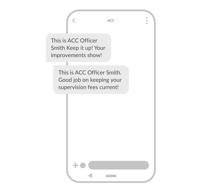 Text message example - positive reinforcement and feedback