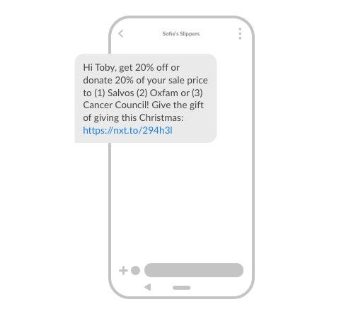 Allow customers to pay it forward to charity for Christmas SMS marketing
