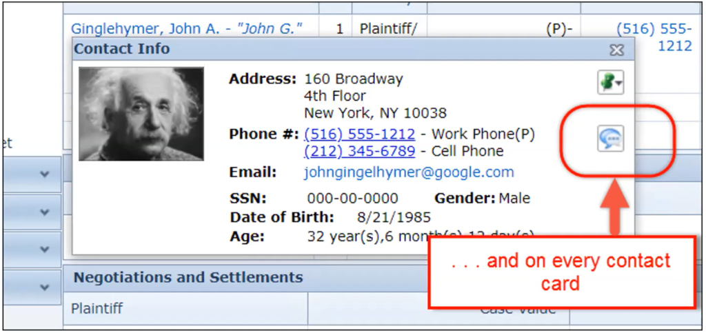 An image showing the SmartAdvocate contact info tab